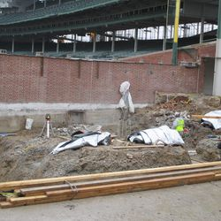 View of digging near the left-field corner