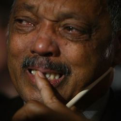 Rev. Jesse Jackson reacts after projections show that Sen. Barack Obama will be elected. | Joe Raedle/Getty Images