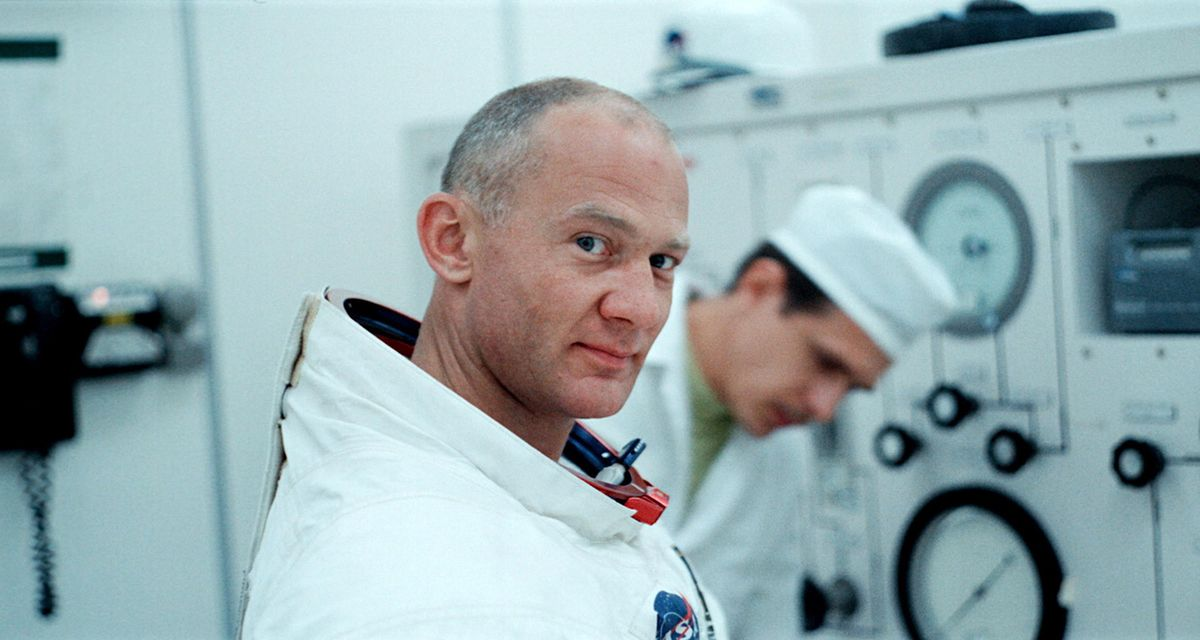 Buzz Aldrin, suited up.