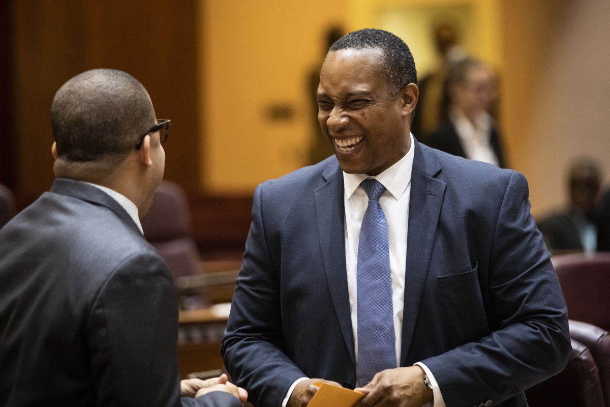 Ald. Greg Mitchell (7th), seen here joking with Ald. Michael Scott Jr. (24th) during Mayor Lori Lightfoot's first City Council meeting, was not so happy on Tuesday.