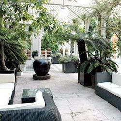 A patio at Rachel Zoe's Beverly Hills house. Image via Bravo.