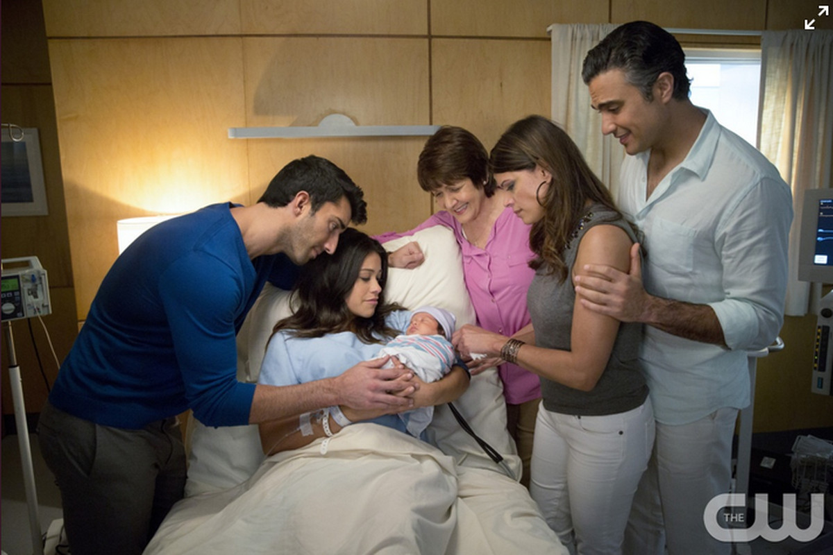 The cast of Jane the Virgin, plus a tiny new addition.