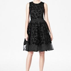 """<a href=""""http://usa.frenchconnection.com/product/woman+Collections+sale/71ANR/Velvetine+Rose+Flower+Dress.htm"""">Velvetine Rose Flower Dress</a>, $174.99 (was $378)"""