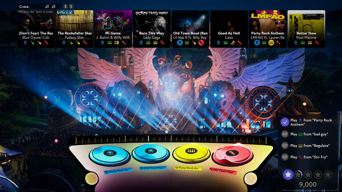 A shot of the UI from Fuser, showing four DJ decks and series of requests and the user's score