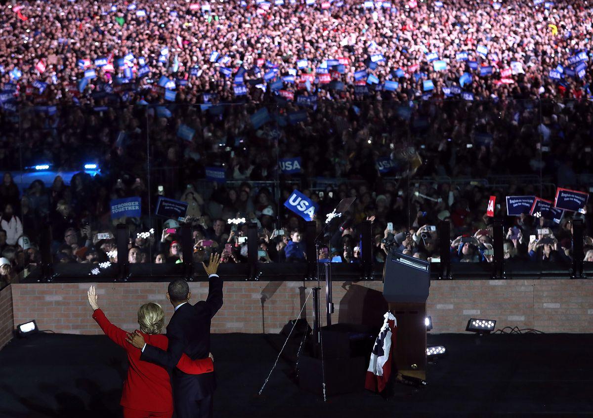 Hillary Clinton and President Barack Obama campaign in Philadelphia.