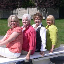 Lorraine Fullmer, Gladys Saxton, Linda Tenney and Lynda Goodman have a Brigham Young High School reunion in August 2009.
