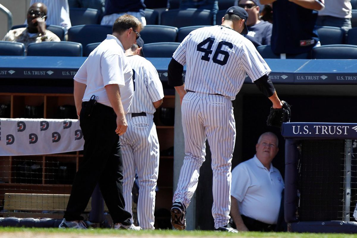 June 27, 2012; Bronx, NY, USA; New York Yankees starting pitcher Andy Pettitte (46) leaves the game against the Cleveland Indians after an injury during the fifth inning at Yankee Stadium. Debby Wong-US PRESSWIRE