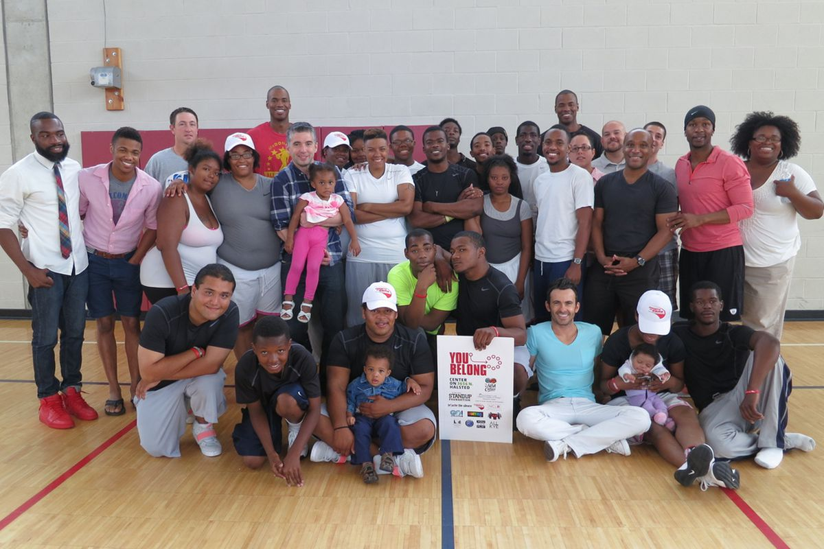 Campers and camp instructors at the first YOU Belong Sports & Leadership camp