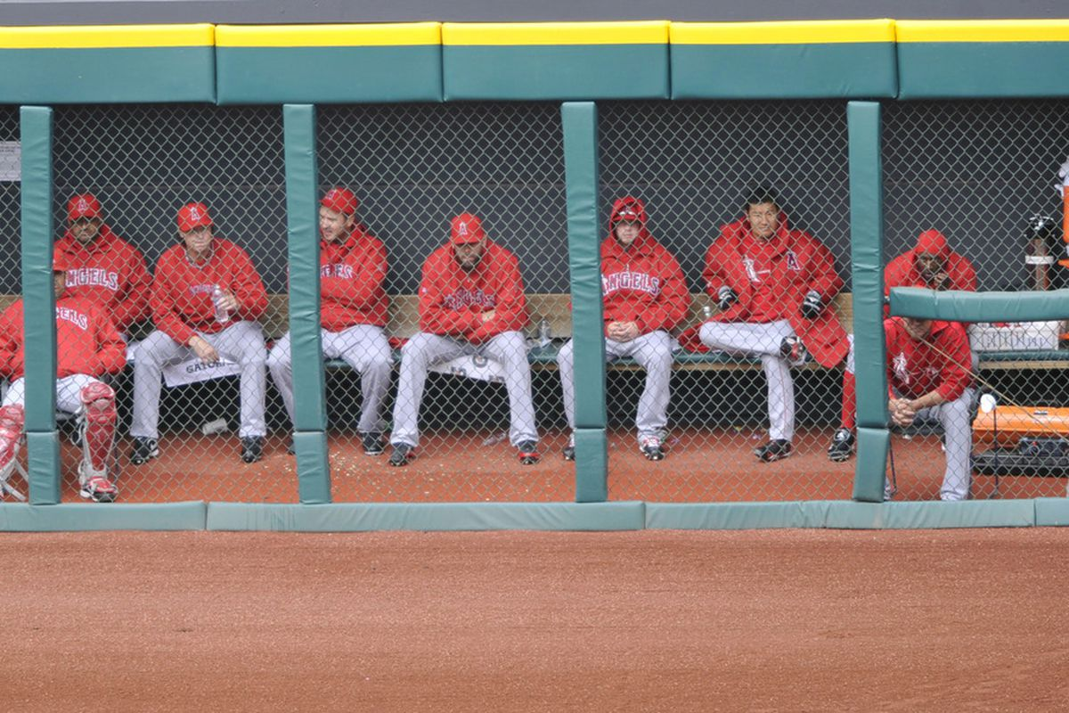 Apr 28, 2012; Cleveland, OH, USA; The Los Angeles Angels bullpen during the seventh inning against the Cleveland Indians at Progressive Field. Mandatory Credit: David Richard-US PRESSWIRE