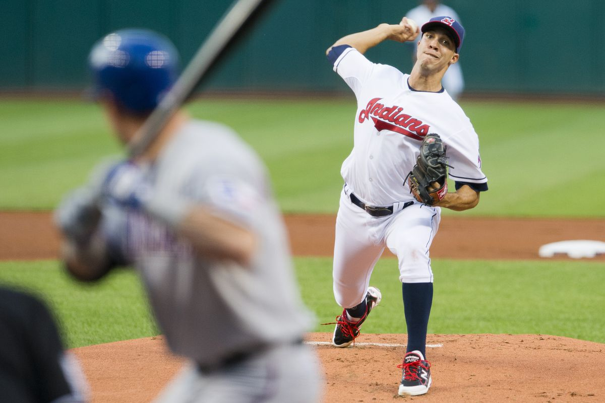 CLEVELAND, OH - AUGUST 31: Starting pitcher Ubaldo Jimenez #30 of the Cleveland Indians pitches to Ian Kinsler #5 of the Texas Rangers during the first inning at Progressive on August 31, 2012 in Cleveland, Ohio. (Photo by Jason Miller/Getty Images)