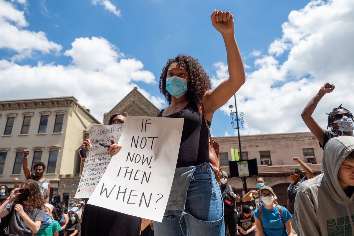Mass Action For Black Liberation March And Protest For George Floyd In Cincinnati, OH