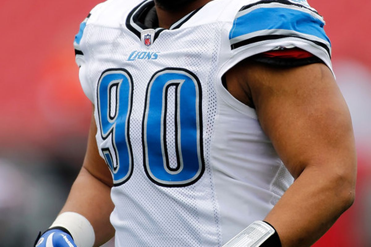 TAMPA FL - DECEMBER 19:  Defensive tackle Ndamukong Suh #90 of the Detroit Lions warms up prior to the start of the game against the Tampa Bay Buccaneers at Raymond James Stadium on December 19 2010 in Tampa Florida.  (Photo by J. Meric/Getty Images)