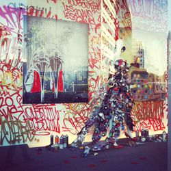 Close-up of the street art-inspired window display.
