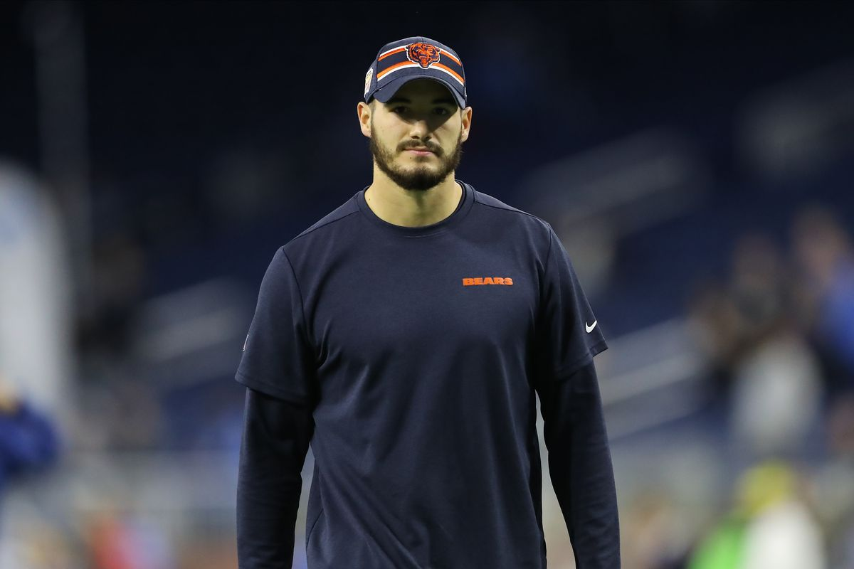 Mitchell Trubisky of the Chicago Bears look on during warm up prior to a game against the Detroit Lions at Ford Field on November 28, 2019 in Detroit, Michigan.