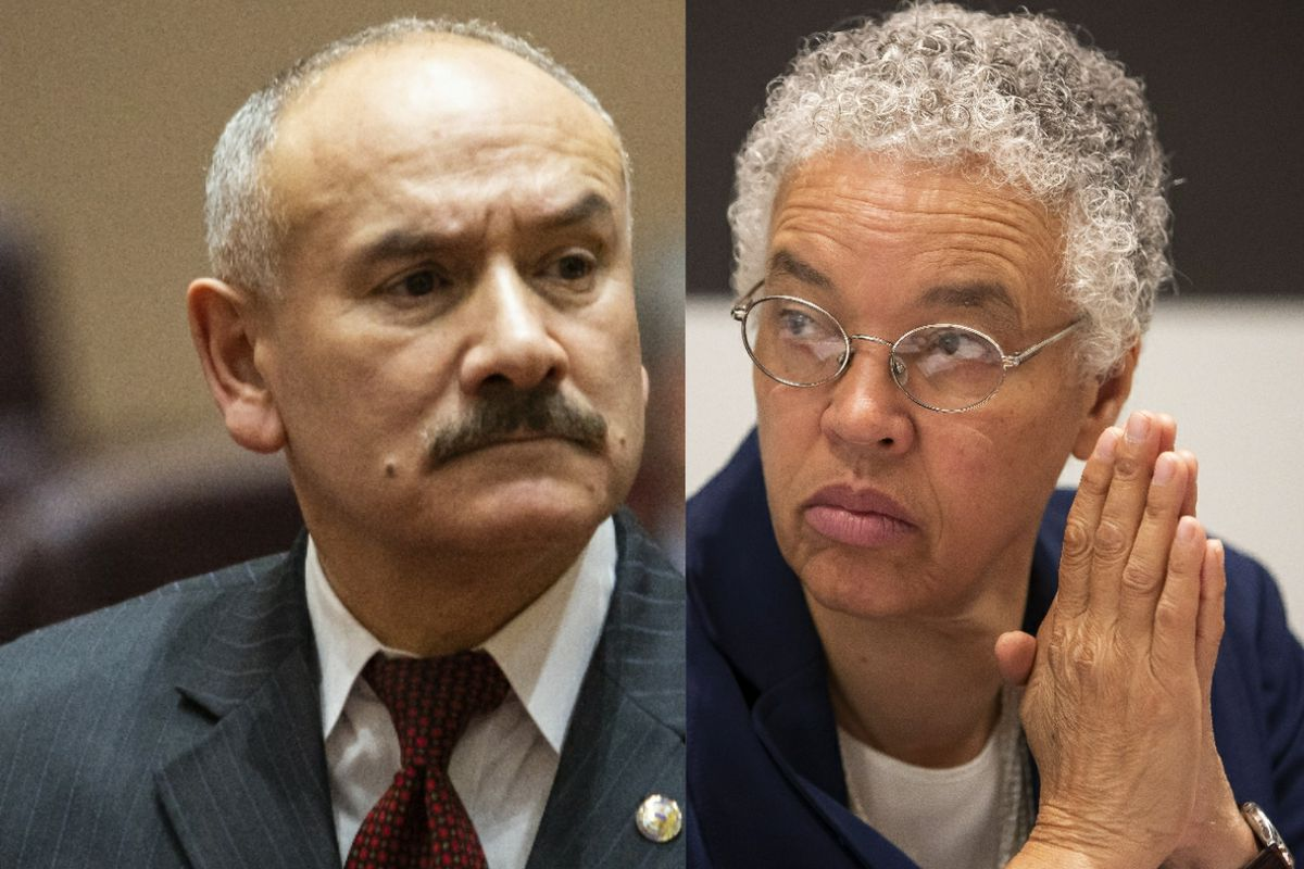 Ald. Ariel Reboyras (30th), left, at a City Council meeting last year; Cook County Board President Toni Preckwinkle, right, meets with the Sun-Times Editorial Board.