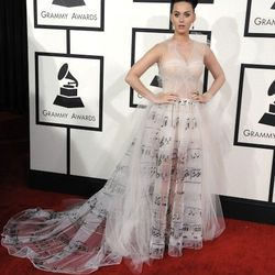 """""""Katy Perry's haute couture Valentino dress was literally ripped from the runway, just being previewed at the latest show. I thought it was whimsical, unique, and it seemed to convey her personality without being way over the top. I loved the light color"""