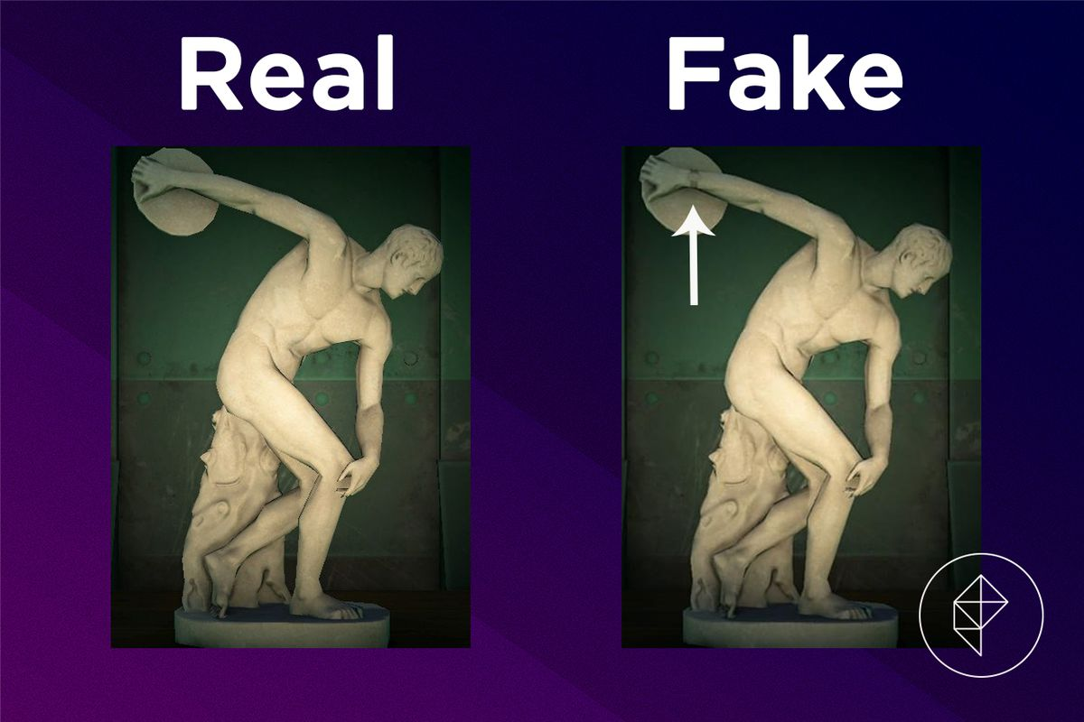 A comparison between the real and fake Robust Statue