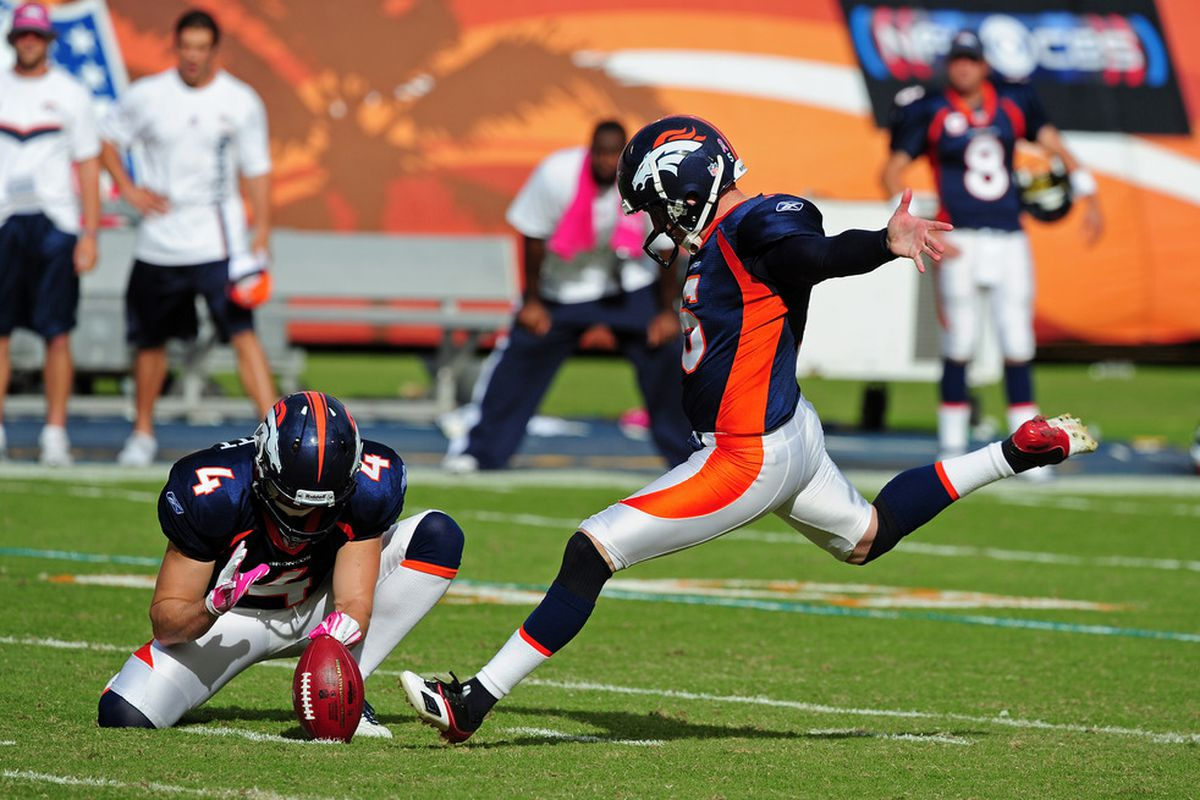 Matt Prater #5 of the Denver Broncos kicks the game winning field goal in overtime against the Miami Dolphins at Sun Life Stadium on October 23, 2011 in Miami Gardens, Florida. (Photo by Scott Cunningham/Getty Images)