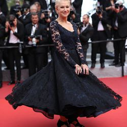 Helen Mirren in Bruce Oldfield at the premiere of 'The Unknown Girl.'