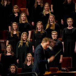 A choir of BYU students perform during the Saturday evening session of the 191st Semiannual General Conference of The Church of Jesus Christ of Latter-day Saints at the Conference Center in Salt Lake City on Saturday, Oct. 2, 2021.