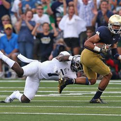 Will Fuller eludes the grasp of a Rice defender en route to a 75-yard score.