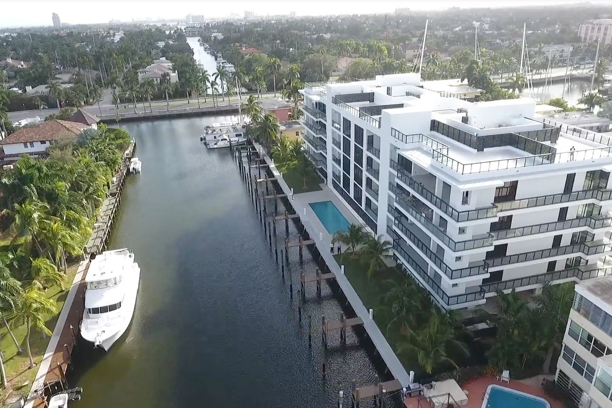 aerial of a boutique condo on the water in FOrt Lauderdale