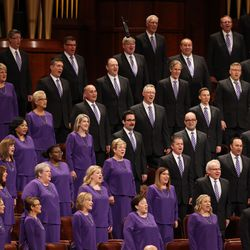 The Tabernacle Choir at Temple Square performs in the Conference Center in Salt Lake City during the Sunday afternoon session of the 191st Semiannual General Conference of The Church of Jesus Christ of Latter-day Saints on Sunday, Oct. 3, 2021.