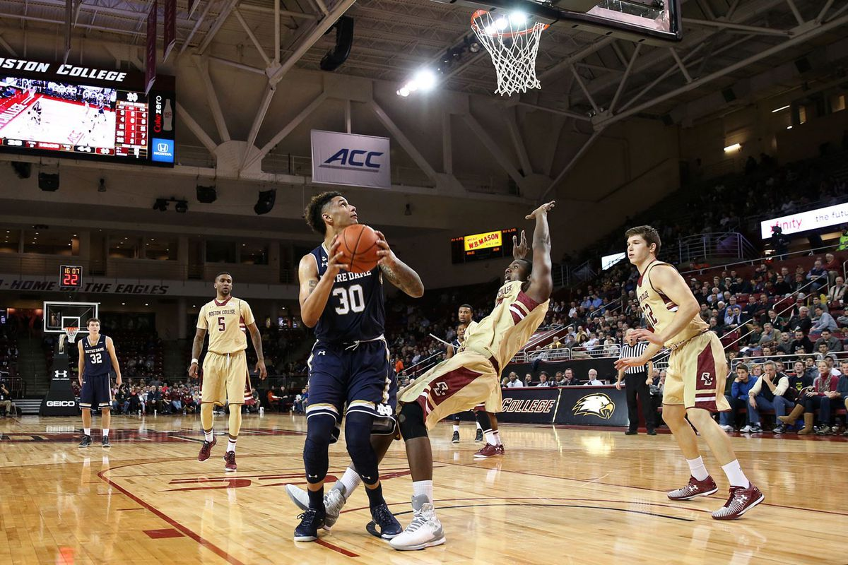 Notre Dame's Zach Auguste gets called for charging on Boston College's Idy Diallo. (GettyImages)