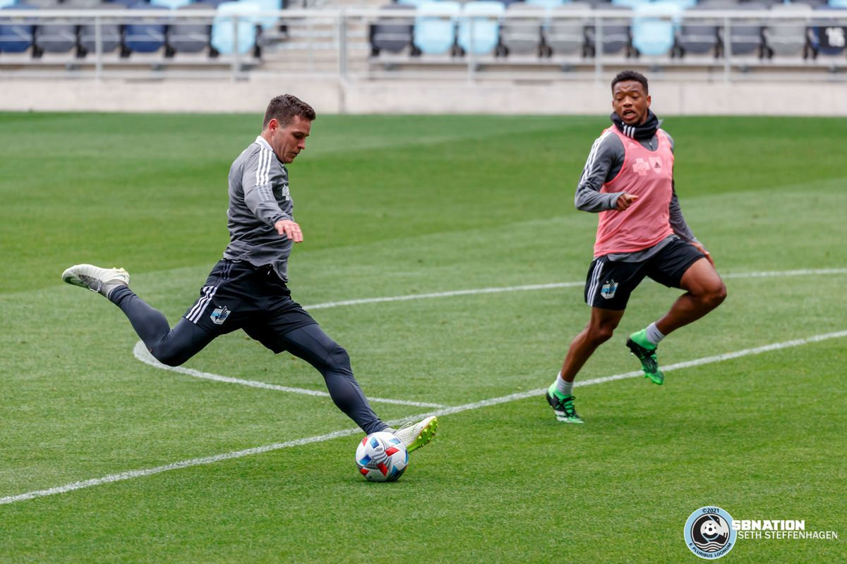 April 20, 2021 - Saint Paul, Minnesota, United States - Minnesota United midfielder Foster Langsdorf (27) takes a shot on goal during the Loon's first team training session at Allianz Field.