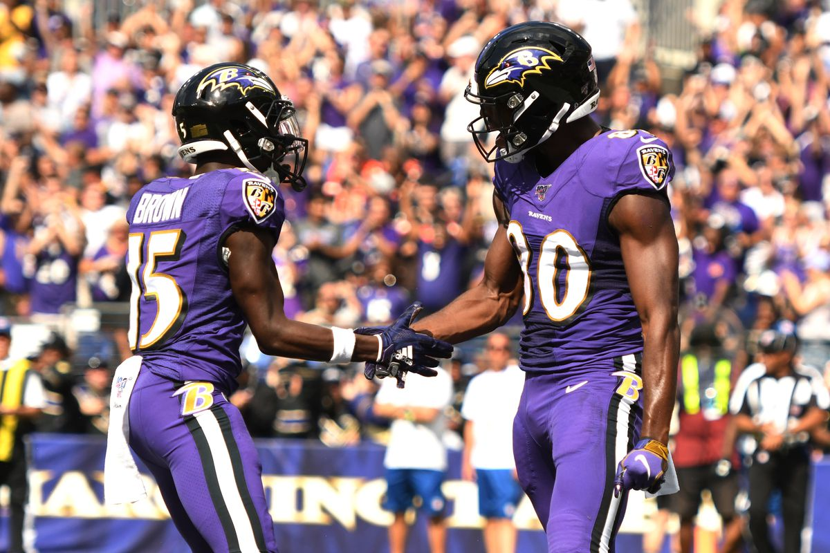 Baltimore Ravens wide receiver Miles Boykin (80) celebrates a touchdown with Ravens wide receiver Marquise Brown (15) in the second quarter against the Cleveland Browns at M&T Bank Stadium. Mandatory Credit: Mitchell Layton