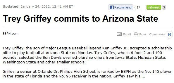 ASU Football: Ken Griffey Jr  doesn't pick either team on