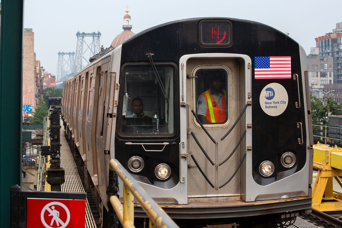 An MTA operator brings an M train into the Marcy Avenue station in Williamsburg, July 20, 2021.