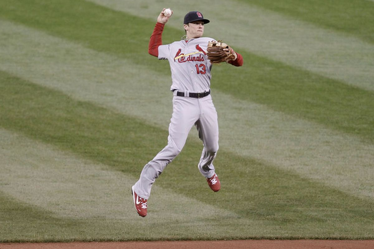 Brendan Ryan of the St Louis Cardinals makes a throw to first base against the Pittsburgh Pirates during the game on May 8, 2010 at PNC Park in Pittsburgh.  (Photo by Jared Wickerham/Getty Images)