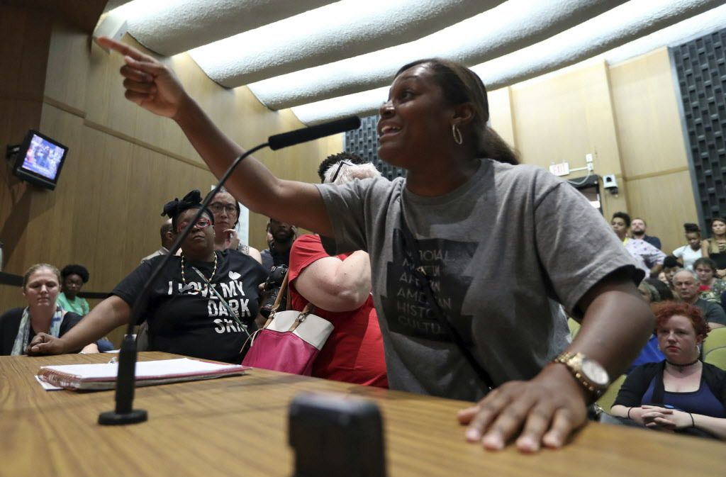 Tanesha Hudson addresses the Charlottesville City Council on Monday. | Andrew Shurtleff/The Daily Progress via AP