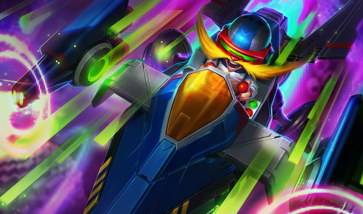 Corki fires his blasters in his Arcade skin, which puts him in a space-invaders type of ship