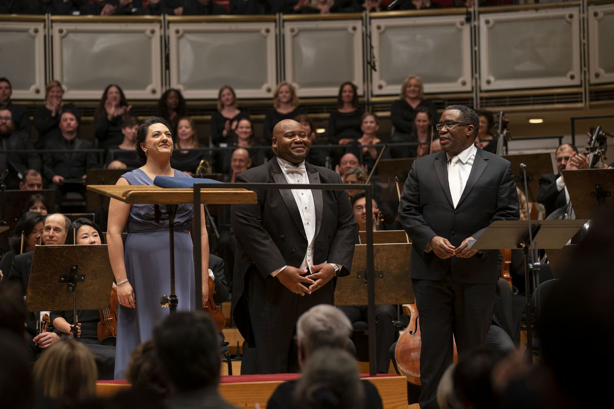 """Soprano Tasha Koontz is joined by tenor Issachah Savage (both making their CSO debuts) and bass-baritone Eric Owens after the conclusion of Act II of """"Aida,"""" the concert performance with the Chicago Symphony Orchestra directed by Riccardo Muti, at Symphon"""