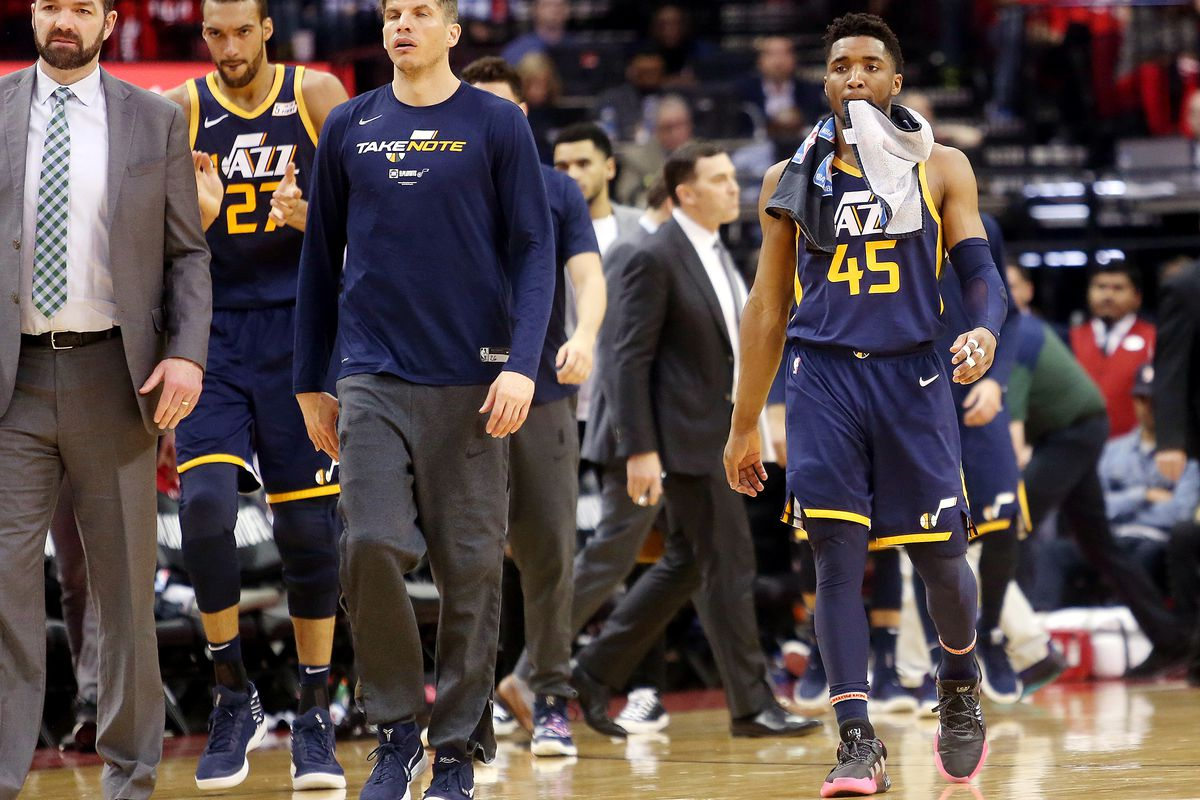 The Utah bench walks onto the floor during a timeout as the Utah Jazz and the Houston Rockets play in Game 2 of the NBA Western Conference playoffs at the Toyota Center in Houston, Texas on Wednesday, April 17, 2019. The Rockets won 118-98, to take a 2-0