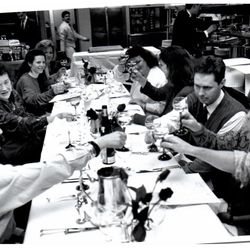 Sheryl Julian, Jody Adams, Lydia Shire, Rene Becker, Chris Schlesinger, and others with Julia Child at the Meridian in the early 1990s