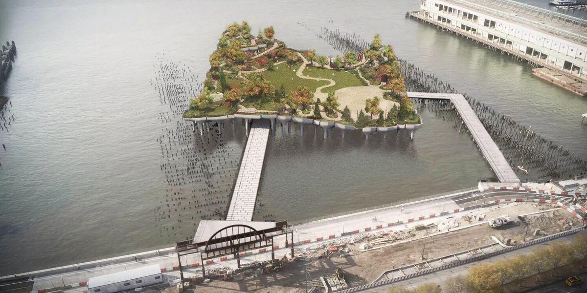 Pier 55's Thomas Heatherwick-designed park is taking shape