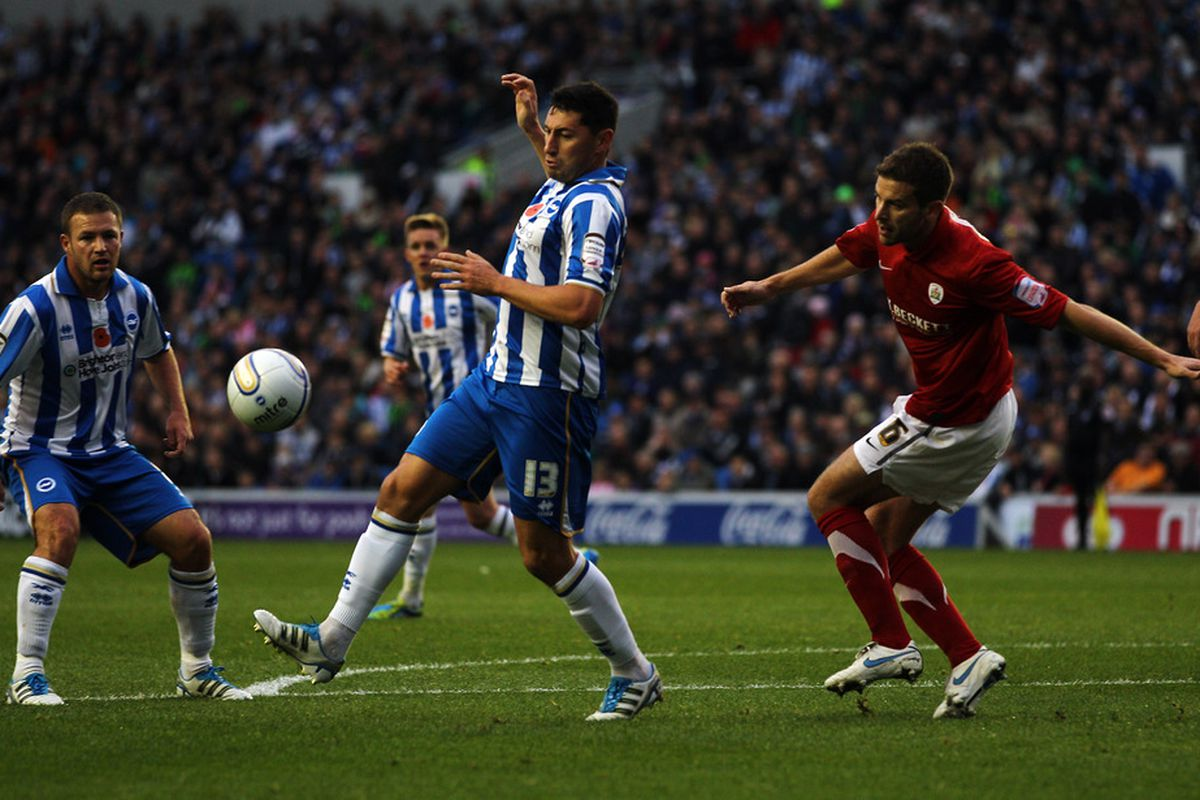 Paynter playing for Brighton earlier in the season. (Photo by Dean Mouhtaropoulos/Getty Images)