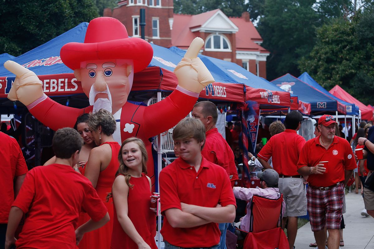 OXFORD, MS - SEPTEMBER 15:  Ole Miss Rebels fans gather at The Grove prior to the start of their game with the Texas Longhorns at Vaught-Hemingway Stadium on September 15, 2012 in Oxford, Mississippi.  (Photo by Scott Halleran/Getty Images)