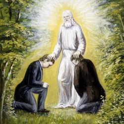 Rough painting of the appearance of John the Baptist to Joseph Smith and Oliver Cowdery. This may have been the painting by C.C.A. Christensen used to create an engraving in 1887 in Copenhagen, or could be a later adaptation.
