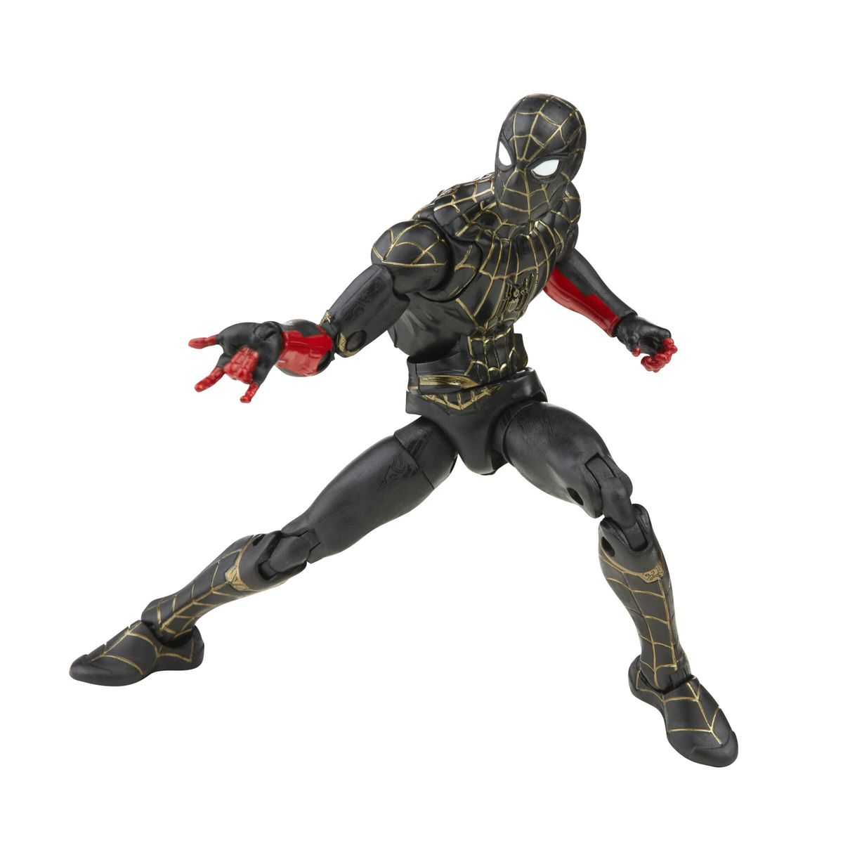 A posed action figure of Spider-Man in a black and gold suit from Spider-Man: No Way Home