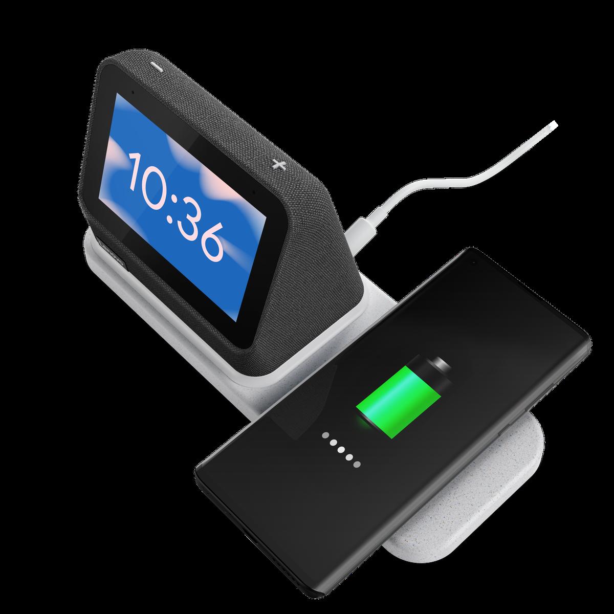 Bezdrôtová nabíjačka Lenovo Smart Watch Top, ktorá nabíja smartphone.  Na obrazovke sa zobrazuje čas 10:36 na modrom pozadí s oblakom.