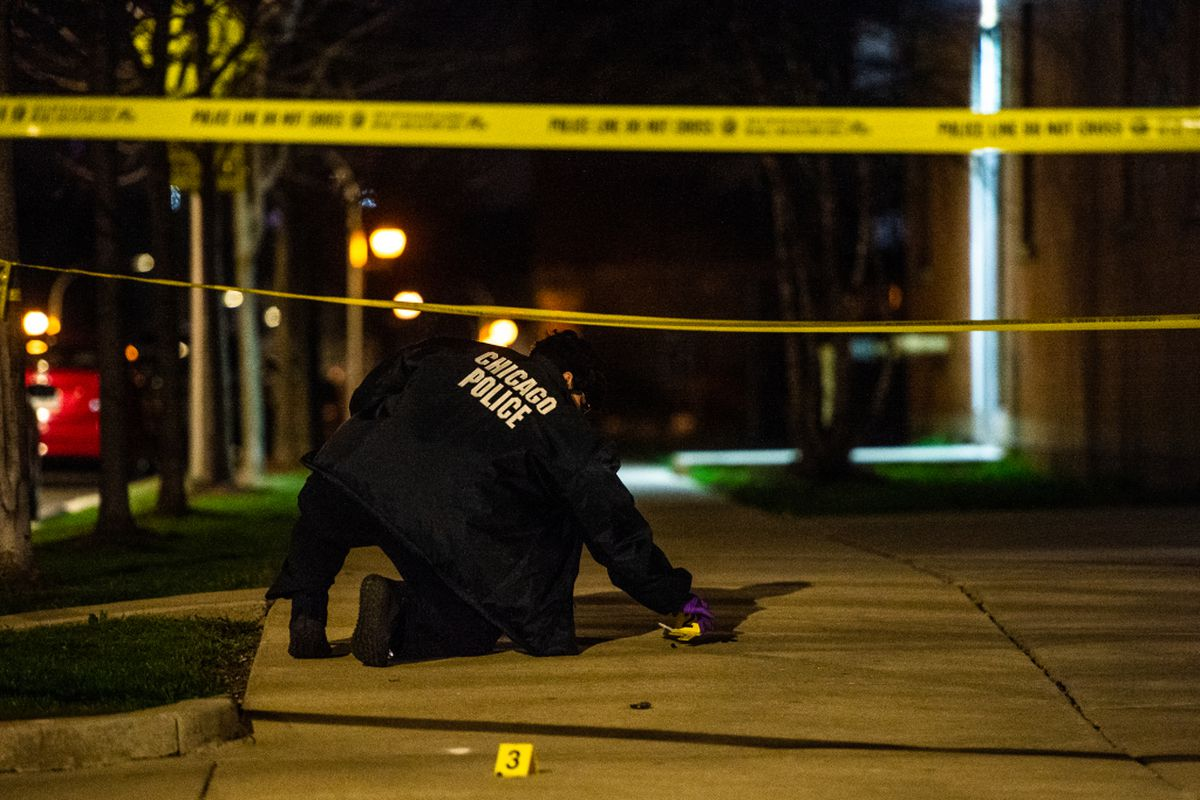 Thirty-seven people were struck by gunfire, five of them fatally, across Chicago over the weekend.