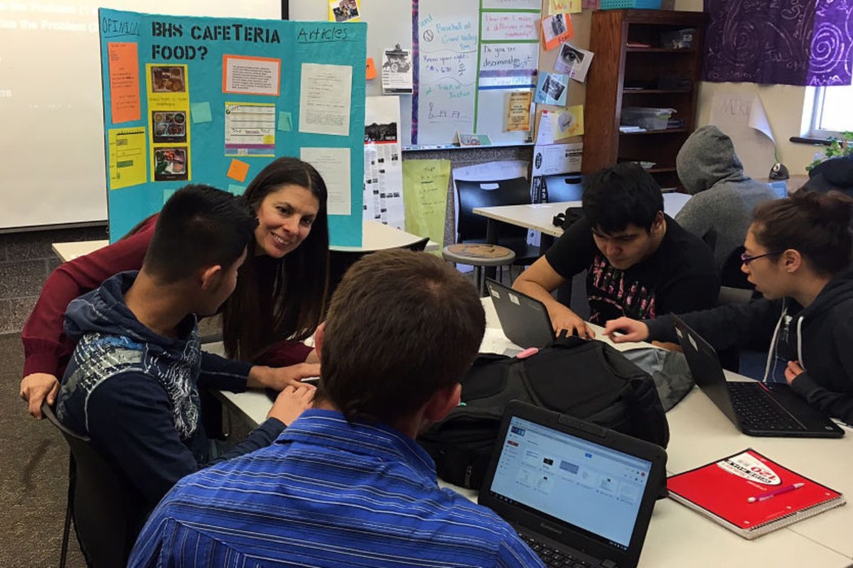 Leticia Guzman Ingram, 2016 Colorado Teacher of the Year, working with students.