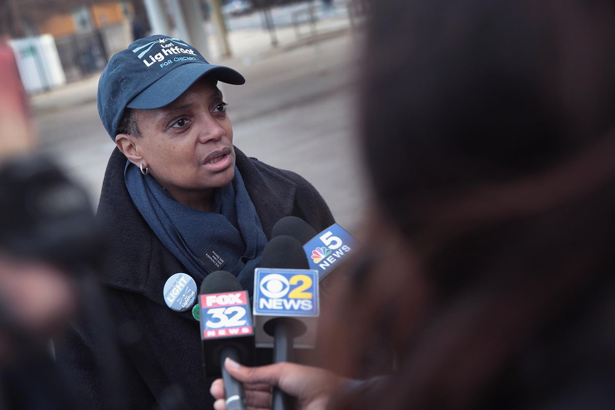 Lori Lightfoot, just elected mayor of Chicago, speaks to the press on election day in April 2019.