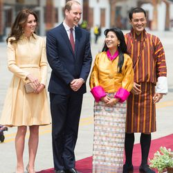 Kate wore a recycled custom Emilia Wickstead coat dress while meeting King of Bhutan Jigme Khesar Namgyel Wangchuck and his wife Jetsun Pema, known as the 'Kate Middleton of the Himalayas.'.