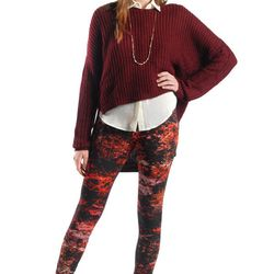 """Antonia hi-lo sweater in wine, <a href=""""http://www.azaleasf.com/#view=details&item=UNQWCASWTSW7666WINE&search=*category/sweaters-and-knits/*gender/women*&currIndex=0&pageSize=60&currSort=score&sortDirection=desc"""">$72</a> at Azalea"""