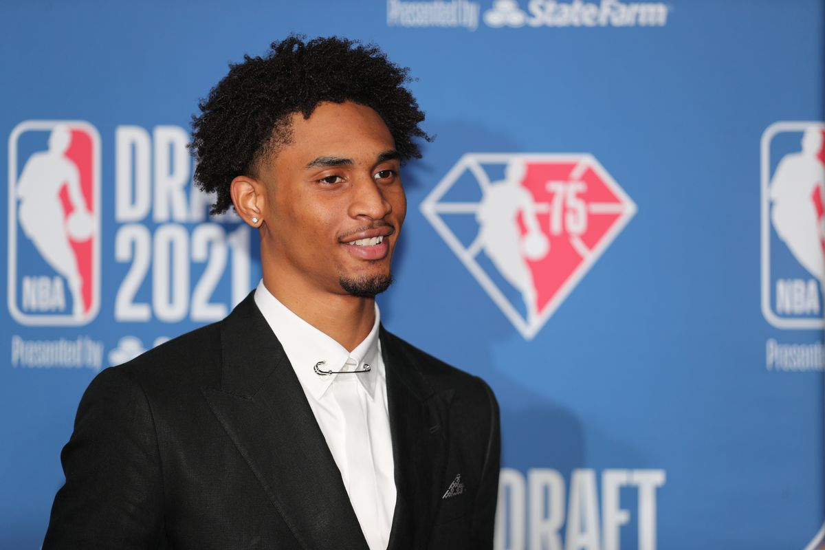 Keon Johnson arrives to the 2021 NBA Draft on July 29, 2021 at the Barclays Center, New York.
